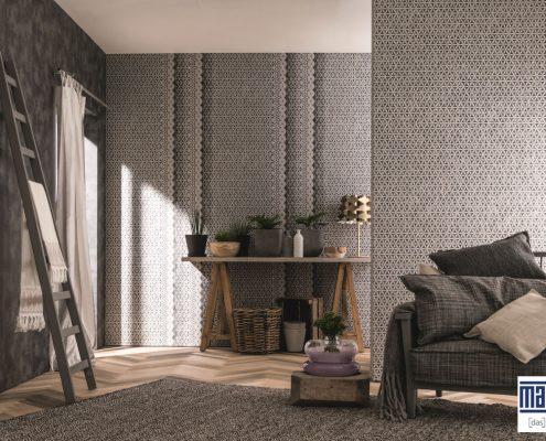 Raumgestaltung mit Tapeten mit grafischen Mustern